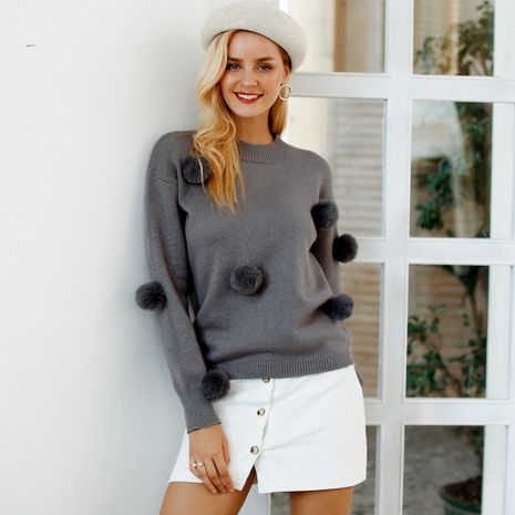 2019 new wide sweater with black fur ball fashion women's wholesale NHDE190229's discount tags