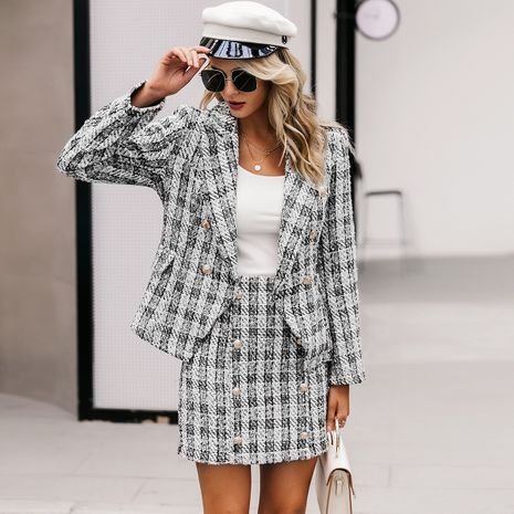 2019 New Temperament Plaid Jacket Fashion Women Wholesale NHDE190239's discount tags