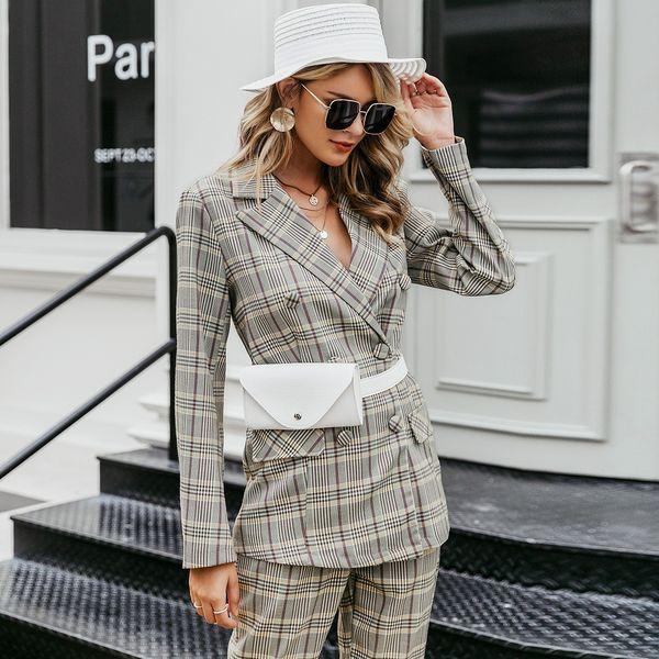 2019 nuevo abrigo de temperamento a cuadros moda mujer al por mayor NHDE190240