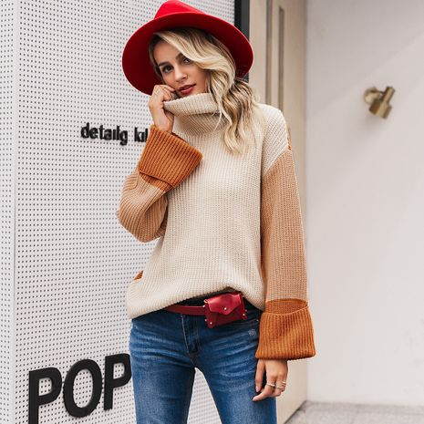 2019 new sleeve stitching sweater fashion women's wholesale NHDE190248's discount tags