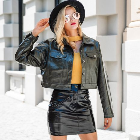 2019 new leather jacket fashion women's wholesale NHDE190250's discount tags