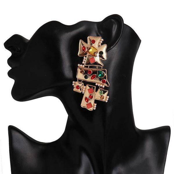 Women's diamond stud earrings NHJJ190266