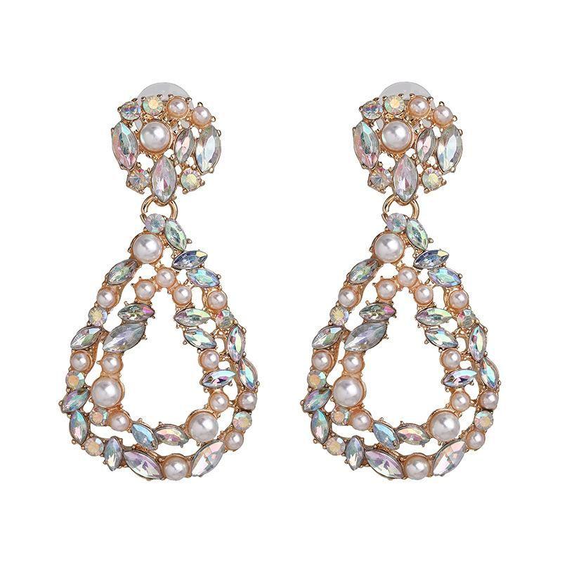 European and American Exaggerated Geometric Diamond Earrings NHJJ190275
