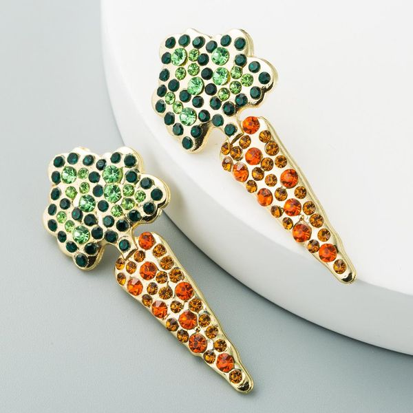 Za same European and American fashion color-matching ladies earrings personality creative carrot inlaid diamond temperament long earrings NHLN190278