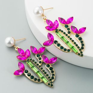 European and American cross-border hot-selling ladies earrings personality creative cactus alloy inlaid with color rhinestones retro temperament earrings NHLN190293's discount tags