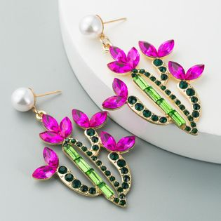 European and American cross-border hot-selling ladies earrings personality creative cactus alloy inlaid with color rhinestones retro temperament earrings NHLN190293