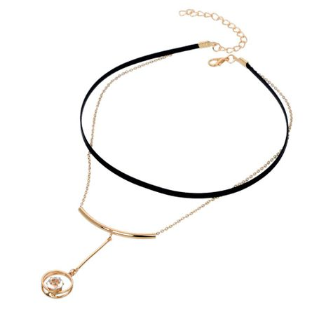 Diamante corto doble círculo vintage cadena de suéter de cuerda de cuero con diamantes NHBQ190294's discount tags