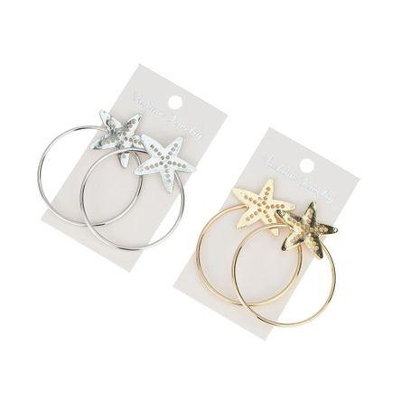 Pendientes de estrella de anillo de aleación de moda pendientes al por mayor NHBQ190299's discount tags