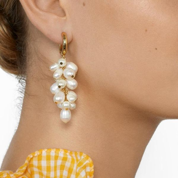 Colored rice beads ethnic boho pearl earrings NHMD190315