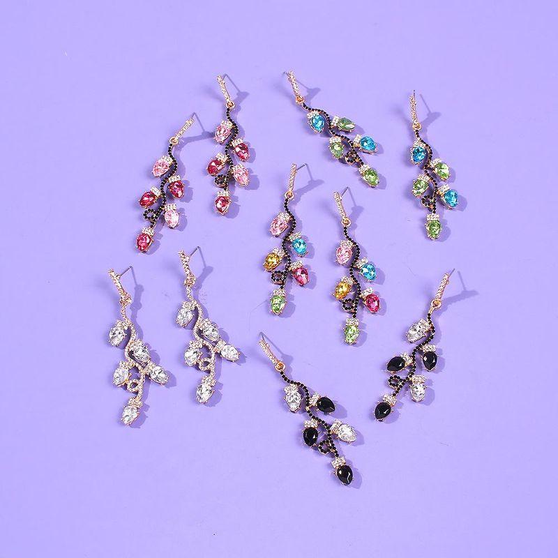 Creative colorful diamond earrings temperament leaf earrings NHMD190316