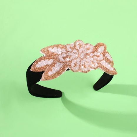 European and American exaggerated headband gorgeous rice beads flower headband NHMD190318's discount tags