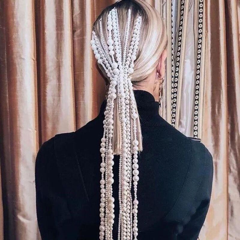 Original creative pearl fashion comb plug with dirty braid cool head clip woman NHMD190320