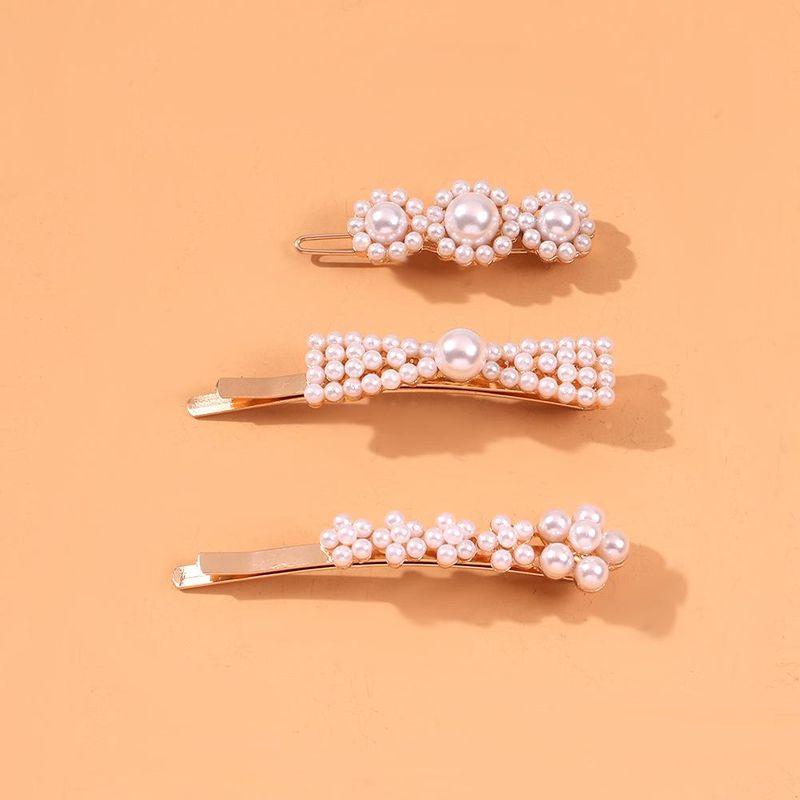 New Pearl Hair Clip Girl Sweet Simple Hair Accessories Word Clip Edge Clip NHMD190333