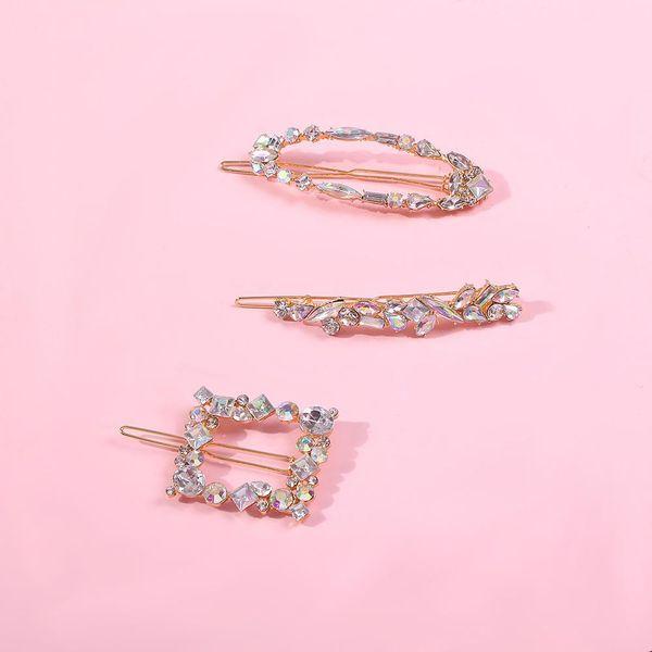 Hair clip fashion word clip geometric irregular diamond hair accessories NHMD190338