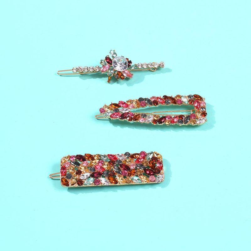 New word clip color diamond gemstone hair accessory fashion sea clip hair clip NHMD190339