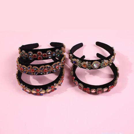 Vintage headband hair accessories diamond wide-band headband NHMD190341's discount tags