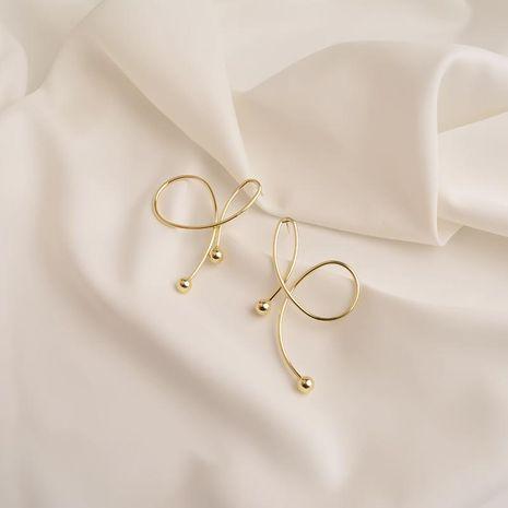 Nuevos pendientes de moda electrochapado oro real s925 pendientes de plata arco irregular pendientes de bola de metal NHWF190361's discount tags