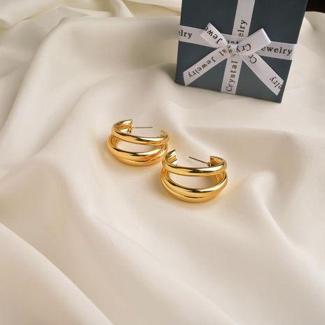 Pendientes de metal en forma de C Pendientes de metal de círculo femenino Joyas de oreja de círculo geométrico hueco minimalista NHWF190366's discount tags
