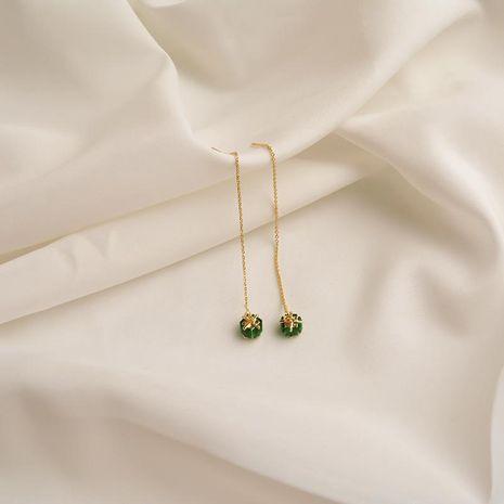 Pendientes largos de borla vintage Pendientes de oreja esmeralda NHWF190370's discount tags