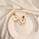 Gold Sixpointed Star Earrings S925 Silver Needle Hypoallergenic Real Gold Zircon Earrings Circle Pearl Earrings NHWF190376
