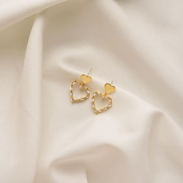ins net red same earrings female hollow sweet love short Japanese and Korean earrings personality geometric popular earring tide NHWF190379