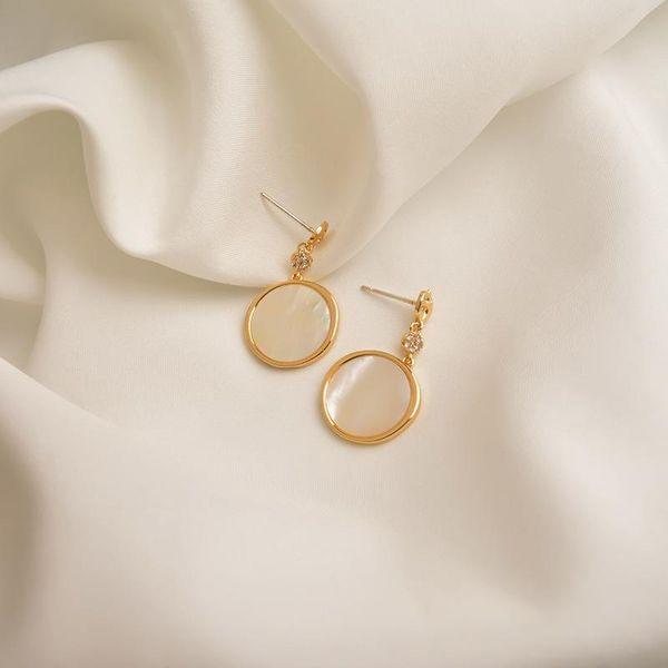 New round earrings female cold wind retro fritillary temperament Korean earrings high sense niche geometric ear jewelry NHWF190387