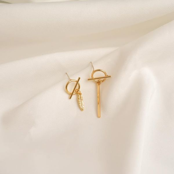 European and American style asymmetric earrings female simple geometric personality tide golden high sense temperament earrings ear jewelry wild NHWF190391