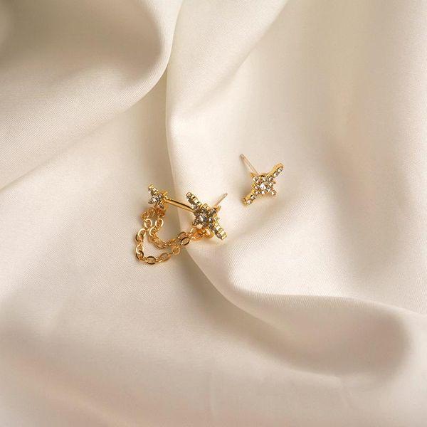 2020 new retro earrings female simple asymmetric star earrings niche diamond temperament earrings wild NHWF190395