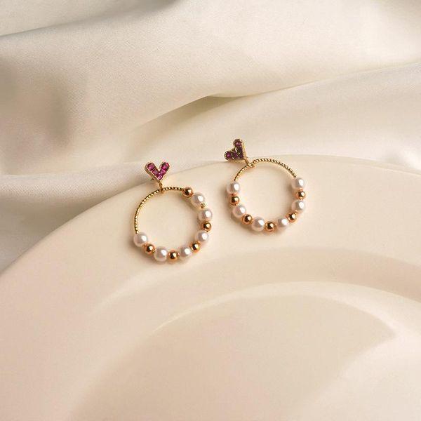 Love circle earrings female simple temperament pearl fashion super fairy Korean personality geometric wild earrings ear jewelry NHWF190396