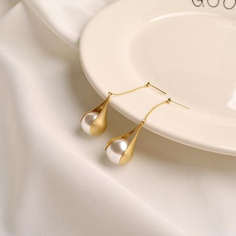 Pendientes vintage de metal femenino con flecos largos y línea minimalista pendientes de perlas pendientes NHWF190405's discount tags