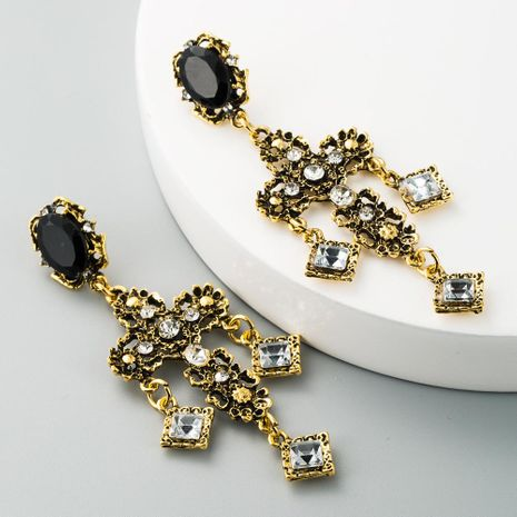Aretes de diamantes de imitación de aleación cruzada pendientes de flecos largos bohemios de moda femenina NHLN190430's discount tags