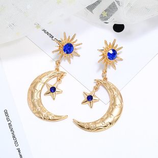 Earring jewelry new star moon alloy diamond earrings NHLN190431's discount tags