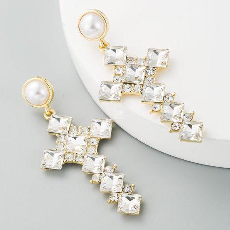 Pendientes de perlas vintage de aleación femenina de diamantes con cruz de joyería larga NHLN190433's discount tags