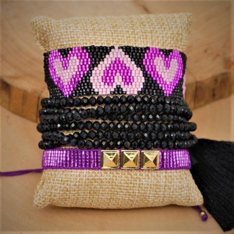 Miyuki Beaded Purple Love Pulsera para mujer Punk Wind Studded Pulsera NHGW190443's discount tags