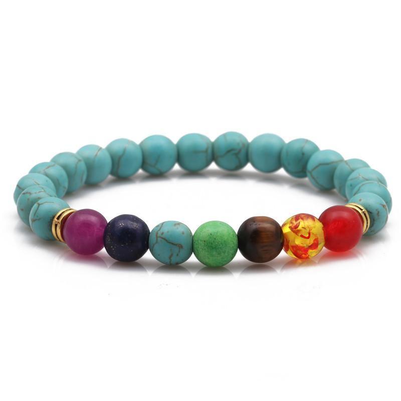 Natural chakra colorful chakra bracelet agate volcanic stone bracelet seven color 8mm yoga lotus bracelet NHYL183948