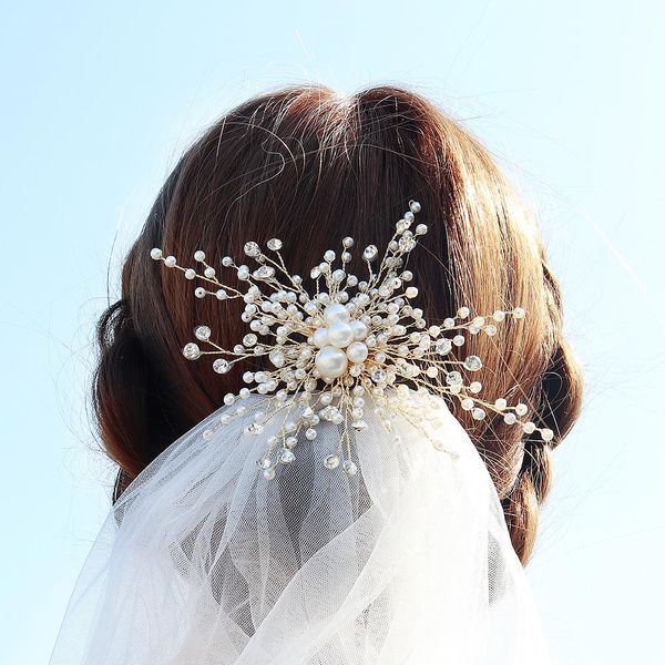 Bridal hair accessories pearl temperament hair clips hand-set diamonds gold edge clip wedding headwear NHHS183593