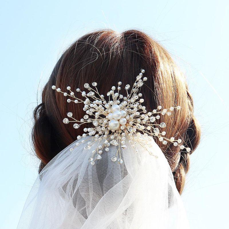 Bridal hair accessories pearl temperament hair clips handset diamonds gold edge clip wedding headwear NHHS183593
