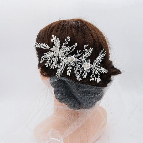 Pearl Hairpin Mori Mizhu Handmade Headdress Alloy Flower Edge Clip Bridal Wedding Jewelry NHHS183601