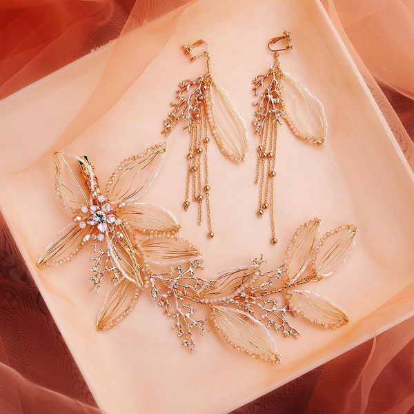 Wedding Jewelry Pearl Flower Headdress Toasting Dress Accessories Bridal Wedding Hair Band Earring Set NHHS183606
