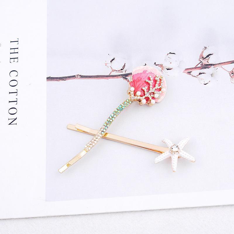 Fashion creative shell hair clip starfish bangs clip word clip hair accessory NHQD183880