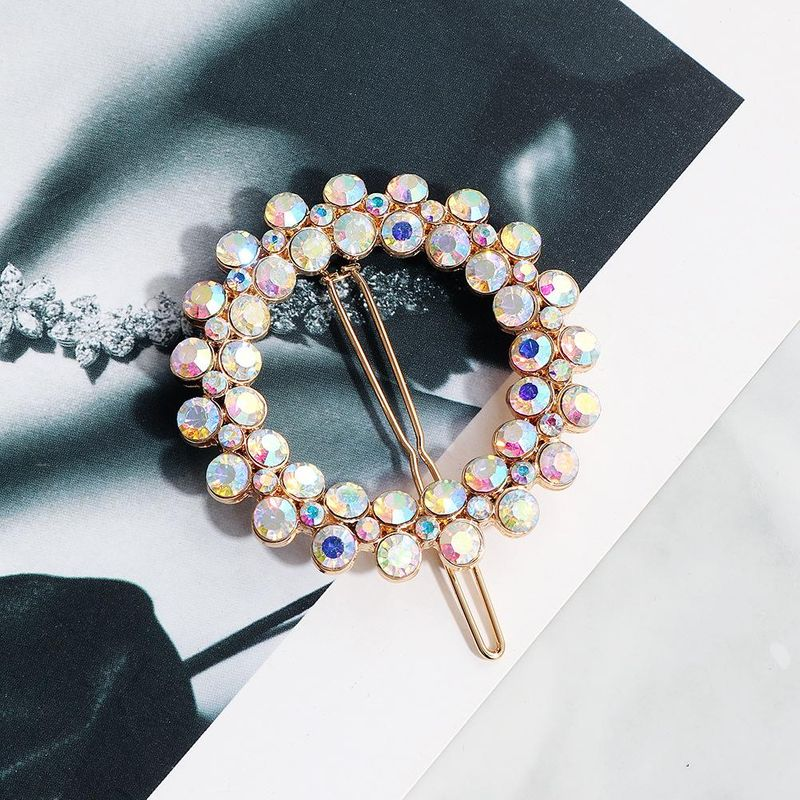 Metal hairpin round temperament hair clip AB diamond crystal frog clip temperament edge clip NHHS183604