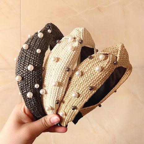 Hand-woven pearl headband female headdress simple Korean hairpin pressure bale wash face NHOF183978's discount tags