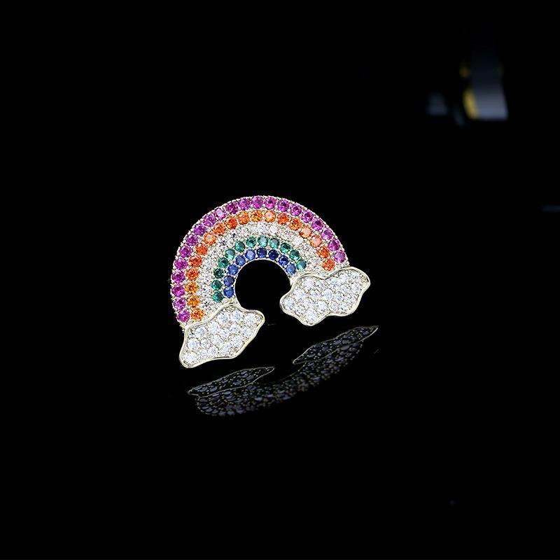 2019 Fashion Color Zirconia Rainbow Brooch Temperament Female Cardigan Pin Western Assembly Decoration NHDO184015