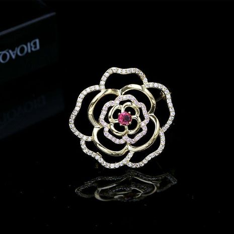 Hollow zircon rose brooch wholesales fashion NHDO184016's discount tags