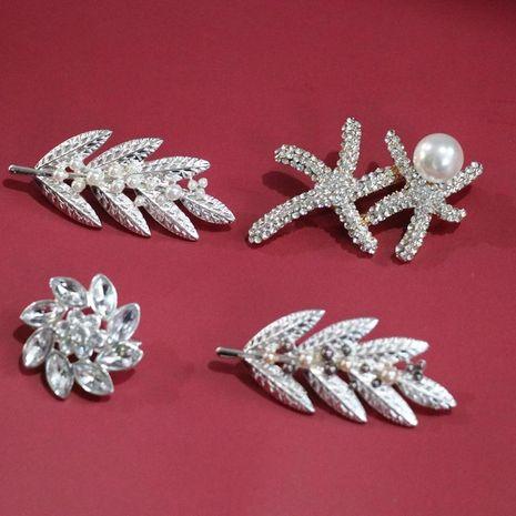 Broche de plata perlas de colores broche de hoja adornado broche de bufanda de cuello de traje de hombres y mujeres NHOM183900's discount tags