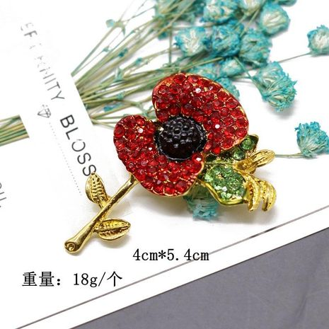 Plant flower shape red diamond flower brooch wild cute brooch pin NHOM183908's discount tags