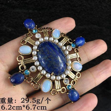 Natural Lapis Lazuli Brooch Pin Retro Brooch Blue Oval Retro Brooch NHOM183911's discount tags