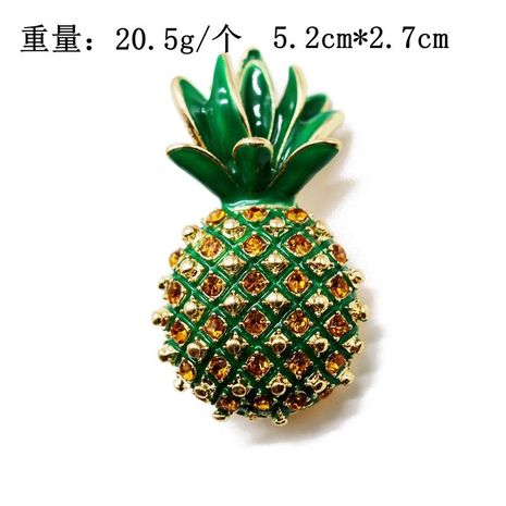 Exquisite green fruit green leaf pin brooch gem diamond inlaid handmade drip oil retro brooch NHOM183913's discount tags