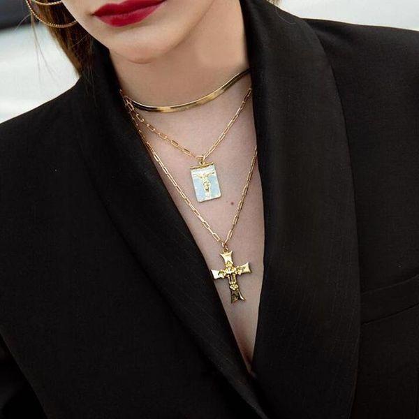 Popular accessories retro golden portrait necklace simple cross three-tier accessories women NHNZ183838