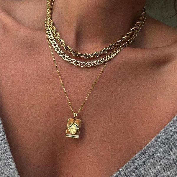 New Creative Frosty Wind Necklace Fashion Alloy Sun 3-Layer Chain Necklace NHNZ183839